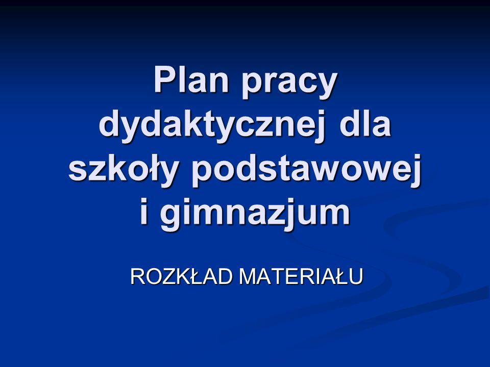 Plan pracy dydaktycznej dla szkoły podstawowej i gimnazjum ROZKŁAD MATERIAŁU