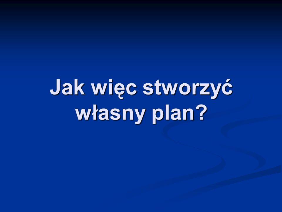 Jak więc stworzyć własny plan?