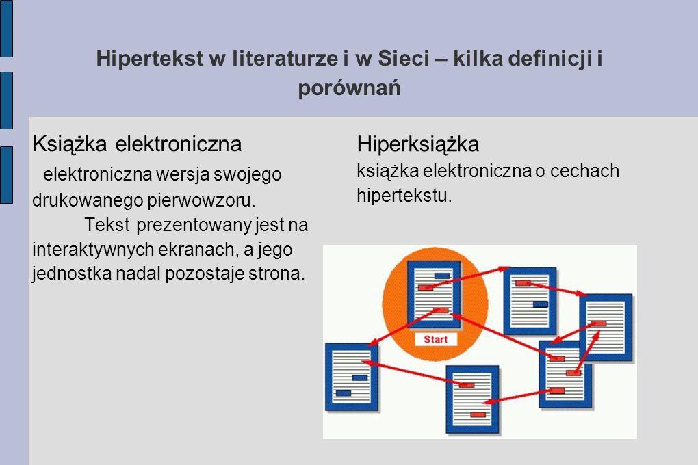 Hipertekst w literaturze i w Sieci – kilka definicji i porównań Książka elektroniczna elektroniczna wersja swojego drukowanego pierwowzoru. Tekst prez