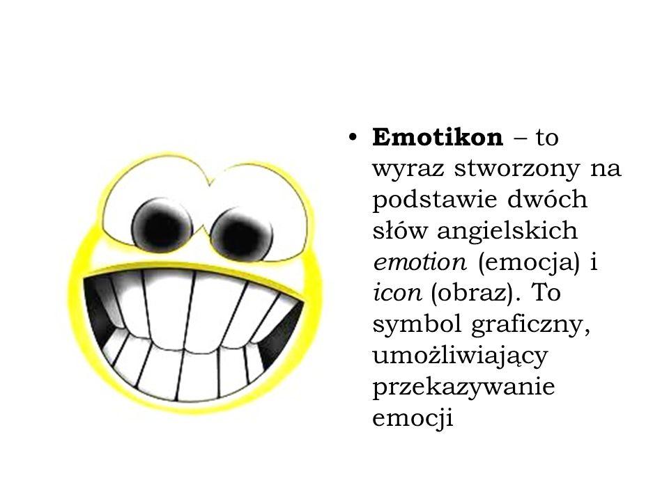 Emotikony a interpunkcja Emotikony są zwykle kombinacją znaków interpunkcyjnych Znaki składające się na emotikonę tracą swoją pierwotną funkcję Internauci niezbyt przejmują się zasadami interpunkcji Emontikony mogą stanowić nowe wyzwanie dla interpunkcji :-) ?-: :-( (-; :-*O-: