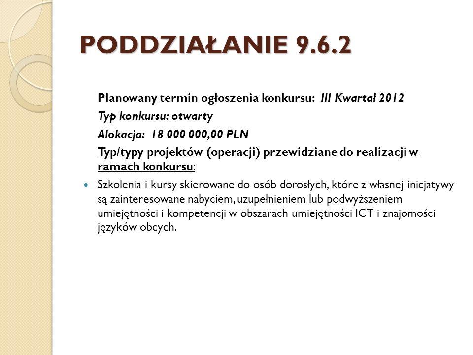 PODDZIAŁANIE 9.6.2 Planowany termin ogłoszenia konkursu: III Kwartał 2012 Typ konkursu: otwarty Alokacja: 18 000 000,00 PLN Typ/typy projektów (operac