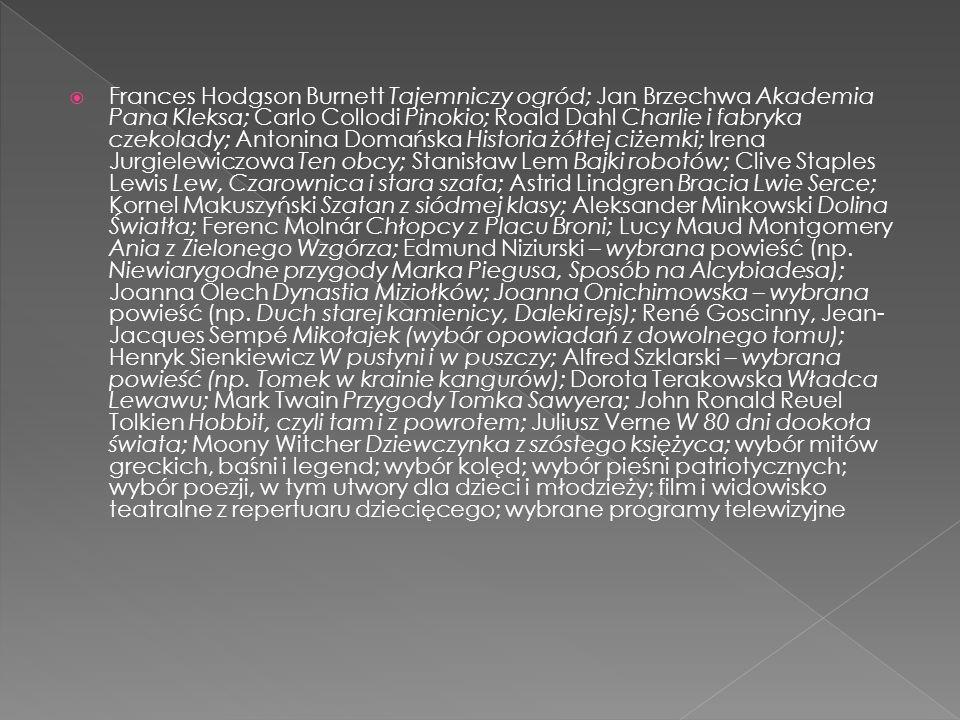 Frances Hodgson Burnett Tajemniczy ogród; Jan Brzechwa Akademia Pana Kleksa; Carlo Collodi Pinokio; Roald Dahl Charlie i fabryka czekolady; Antonina D