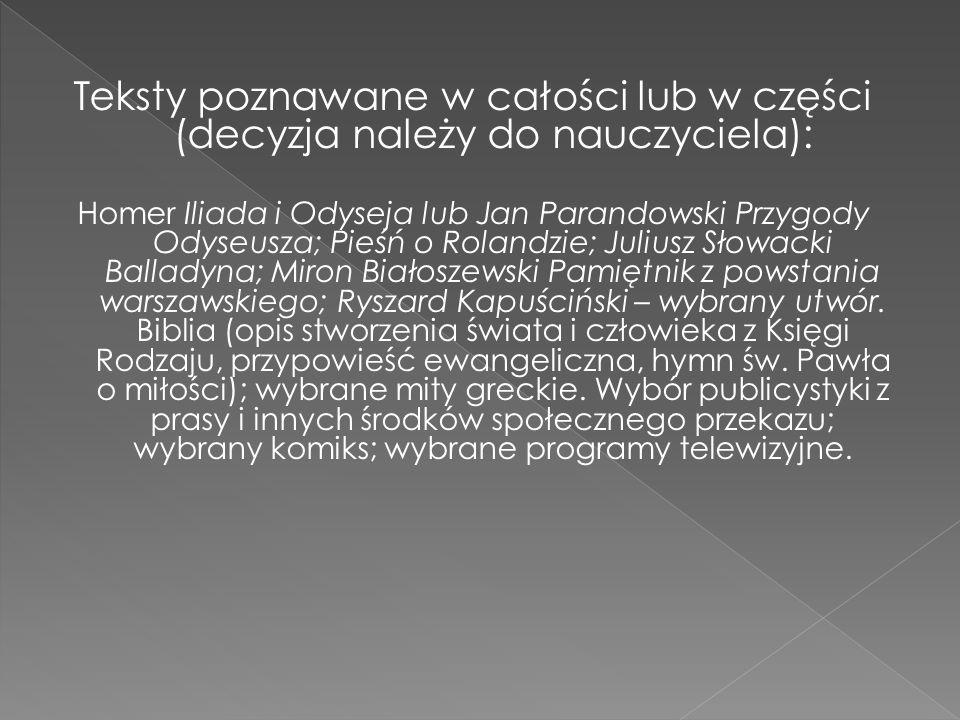 Teksty poznawane w całości lub w części (decyzja należy do nauczyciela): Homer Iliada i Odyseja lub Jan Parandowski Przygody Odyseusza; Pieśń o Roland
