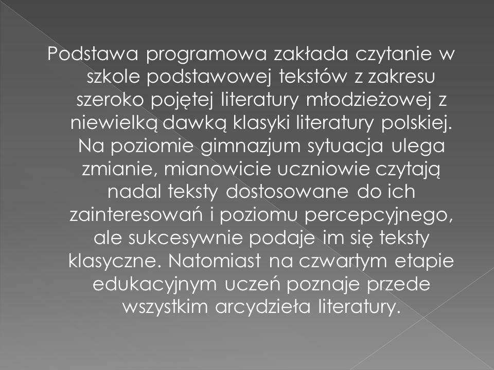 Podstawa programowa zakłada czytanie w szkole podstawowej tekstów z zakresu szeroko pojętej literatury młodzieżowej z niewielką dawką klasyki literatu