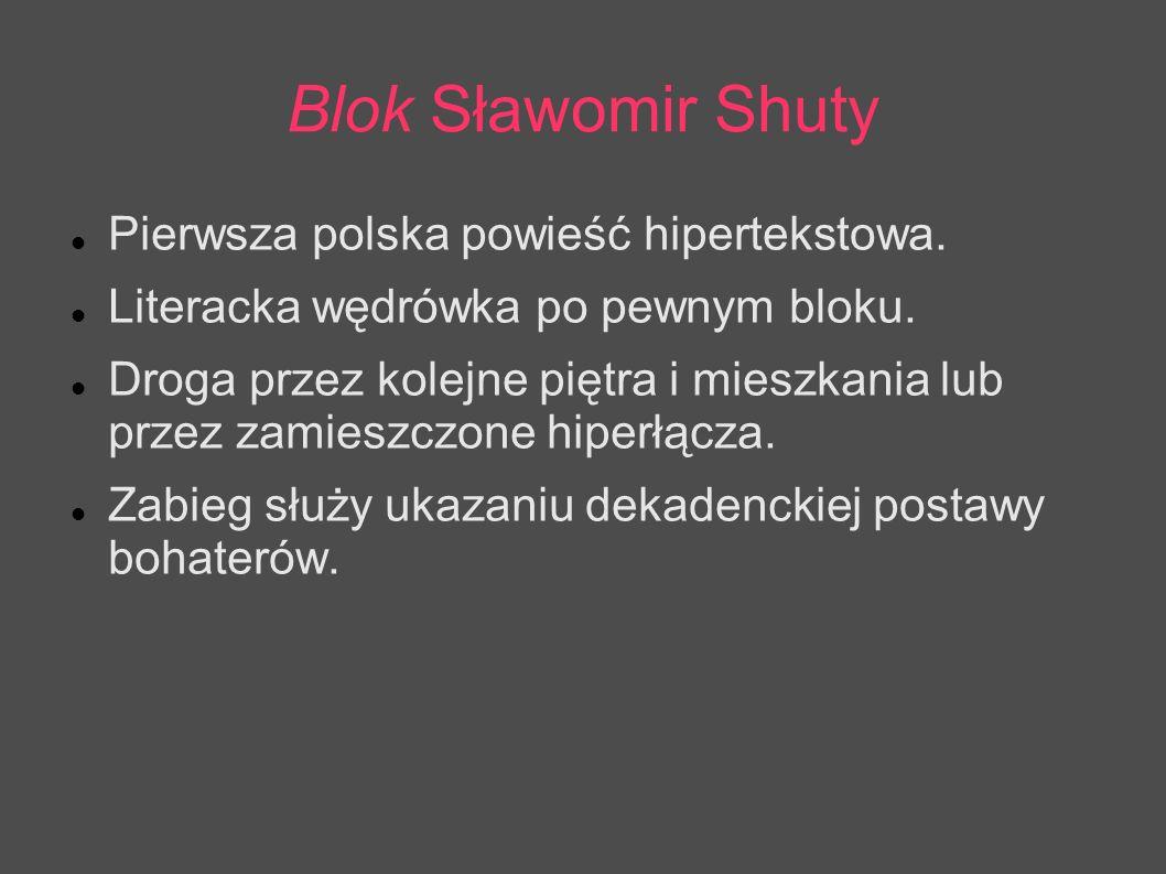 Blok Sławomir Shuty Pierwsza polska powieść hipertekstowa. Literacka wędrówka po pewnym bloku. Droga przez kolejne piętra i mieszkania lub przez zamie