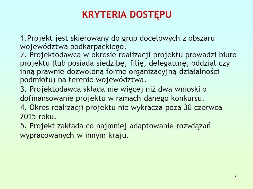 4 KRYTERIA DOSTĘPU 1.Projekt jest skierowany do grup docelowych z obszaru województwa podkarpackiego.