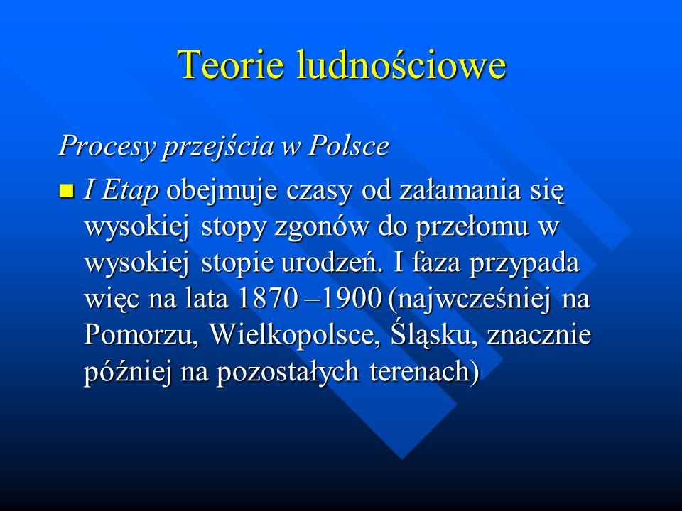Teorie ludnościowe Procesy przejścia w Polsce I Etap obejmuje czasy od załamania się wysokiej stopy zgonów do przełomu w wysokiej stopie urodzeń.