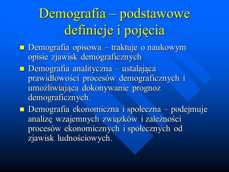 Demografia – podstawowe definicje i pojęcia Demografia opisowa – traktuje o naukowym opisie zjawisk demograficznych Demografia opisowa – traktuje o naukowym opisie zjawisk demograficznych Demografia analityczna – ustalająca prawidłowości procesów demograficznych i umożliwiająca dokonywanie prognoz demograficznych.