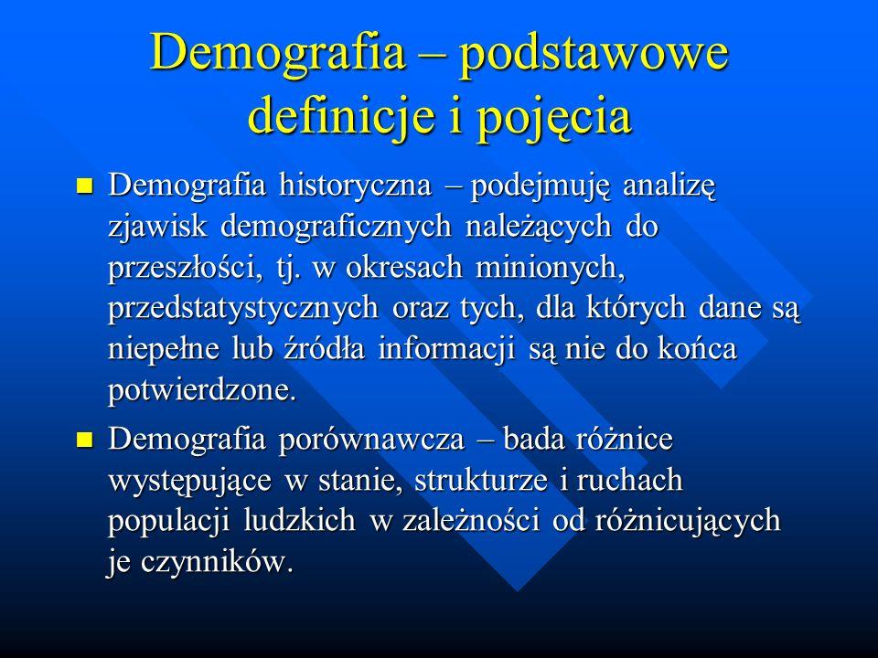 Demografia – podstawowe definicje i pojęcia Demografia historyczna – podejmuję analizę zjawisk demograficznych należących do przeszłości, tj.