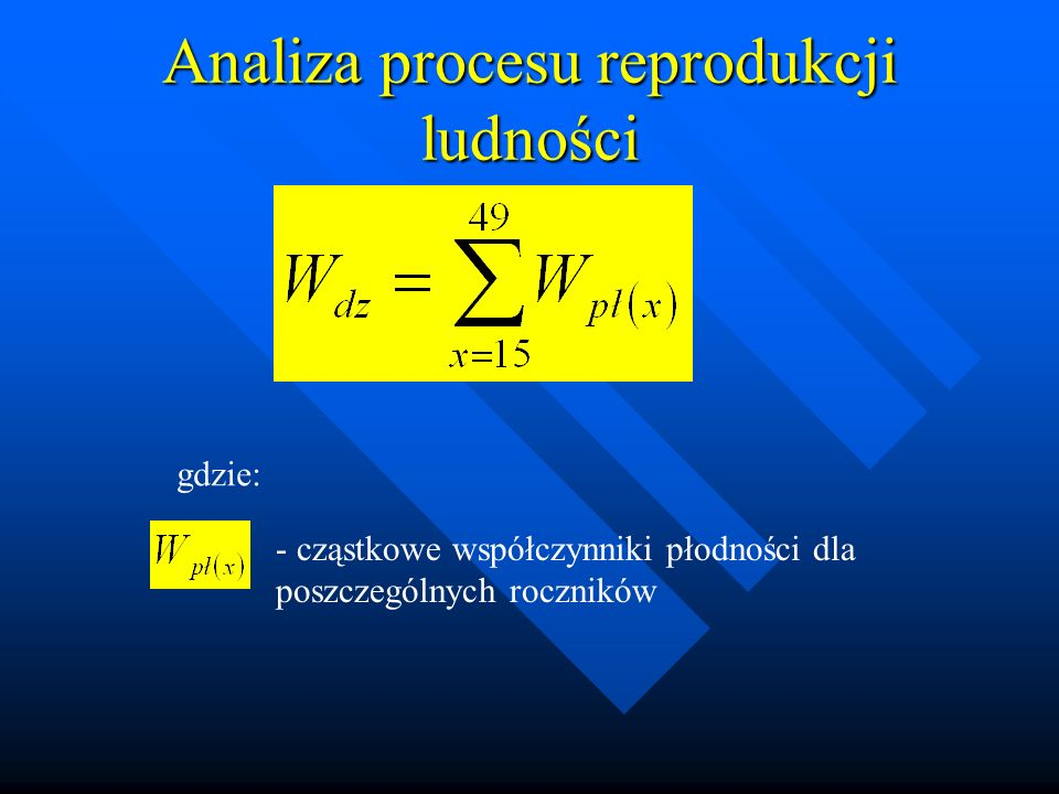 Analiza procesu reprodukcji ludności gdzie: - cząstkowe współczynniki płodności dla poszczególnych roczników