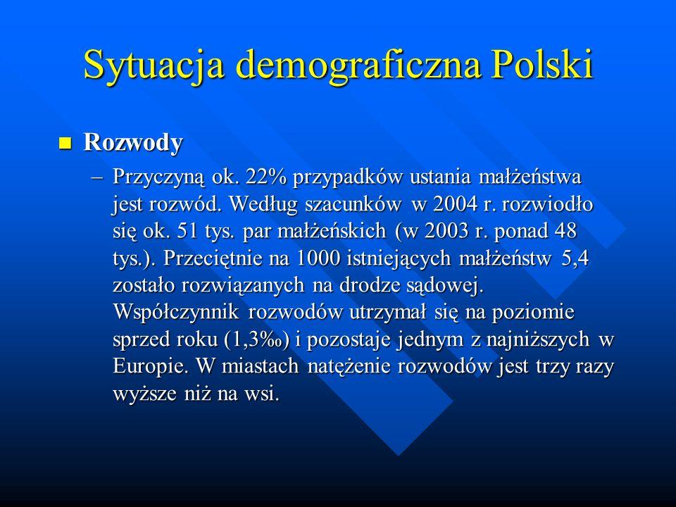Sytuacja demograficzna Polski Rozwody Rozwody –Przyczyną ok.