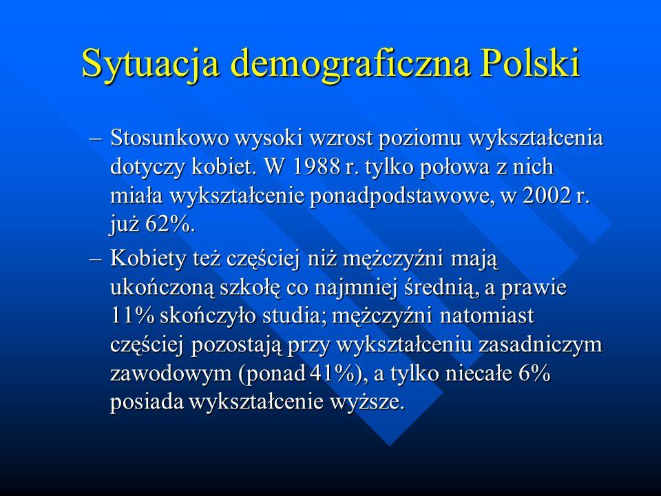 Sytuacja demograficzna Polski –Stosunkowo wysoki wzrost poziomu wykształcenia dotyczy kobiet.
