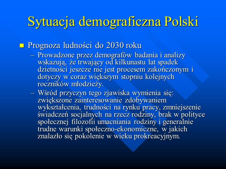 Sytuacja demograficzna Polski Prognoza ludności do 2030 roku Prognoza ludności do 2030 roku –Prowadzone przez demografów badania i analizy wskazują, że trwający od kilkunastu lat spadek dzietności jeszcze nie jest procesem zakończonym i dotyczy w coraz większym stopniu kolejnych roczników młodzieży.