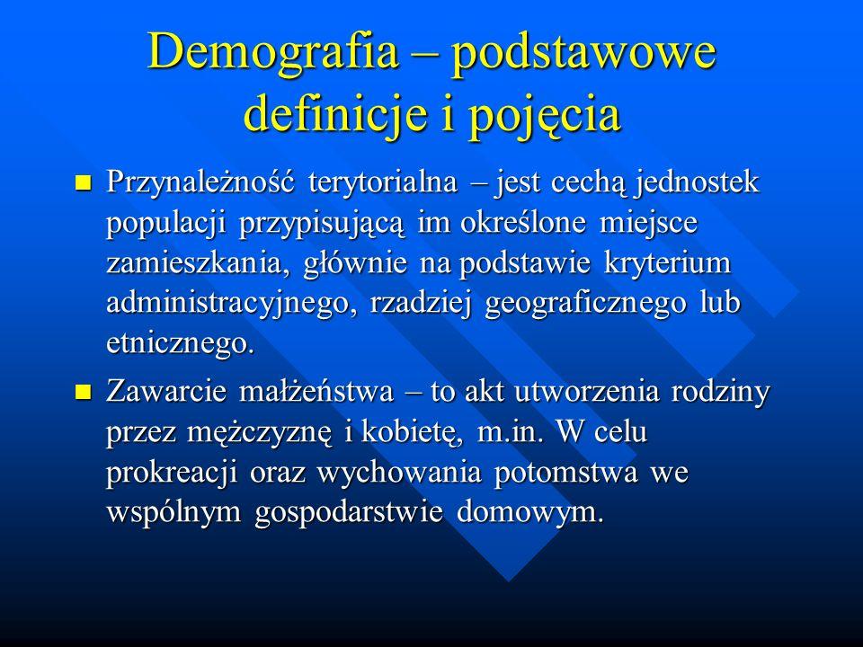 Demografia – podstawowe definicje i pojęcia Przynależność terytorialna – jest cechą jednostek populacji przypisującą im określone miejsce zamieszkania, głównie na podstawie kryterium administracyjnego, rzadziej geograficznego lub etnicznego.