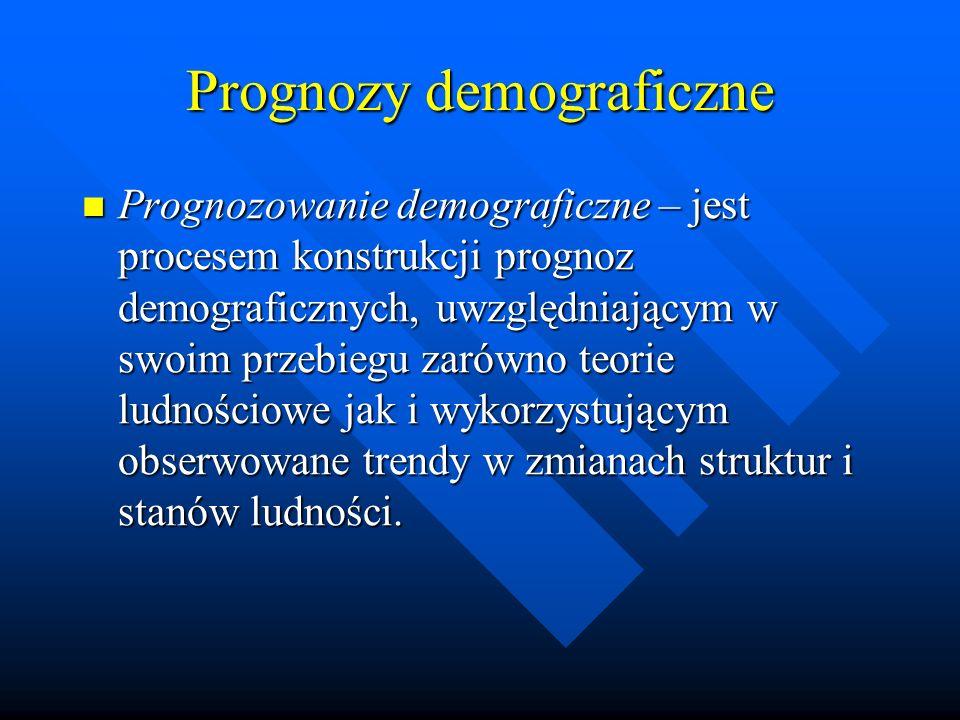 Prognozy demograficzne Prognozowanie demograficzne – jest procesem konstrukcji prognoz demograficznych, uwzględniającym w swoim przebiegu zarówno teorie ludnościowe jak i wykorzystującym obserwowane trendy w zmianach struktur i stanów ludności.
