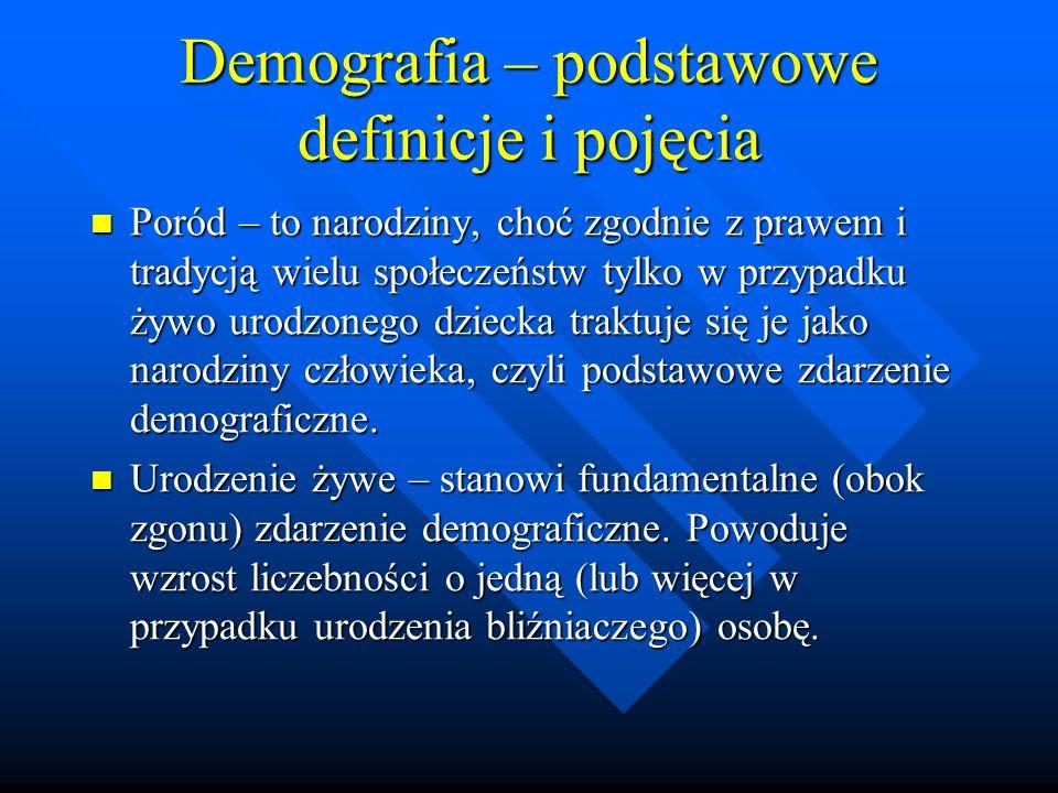 Demografia – podstawowe definicje i pojęcia Poród – to narodziny, choć zgodnie z prawem i tradycją wielu społeczeństw tylko w przypadku żywo urodzonego dziecka traktuje się je jako narodziny człowieka, czyli podstawowe zdarzenie demograficzne.