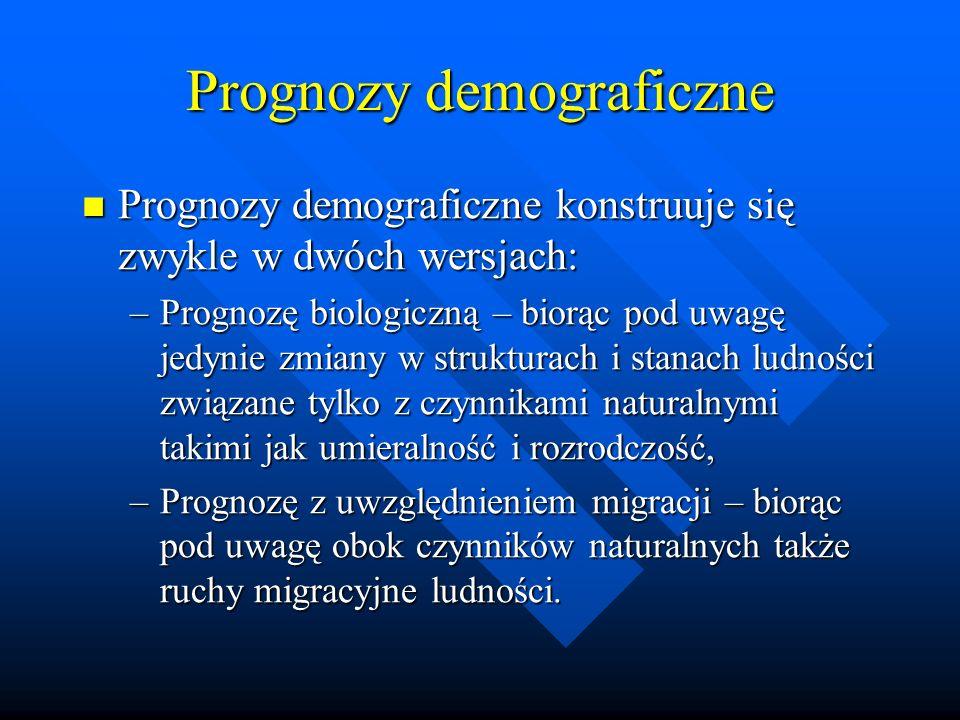 Prognozy demograficzne Prognozy demograficzne konstruuje się zwykle w dwóch wersjach: Prognozy demograficzne konstruuje się zwykle w dwóch wersjach: –Prognozę biologiczną – biorąc pod uwagę jedynie zmiany w strukturach i stanach ludności związane tylko z czynnikami naturalnymi takimi jak umieralność i rozrodczość, –Prognozę z uwzględnieniem migracji – biorąc pod uwagę obok czynników naturalnych także ruchy migracyjne ludności.