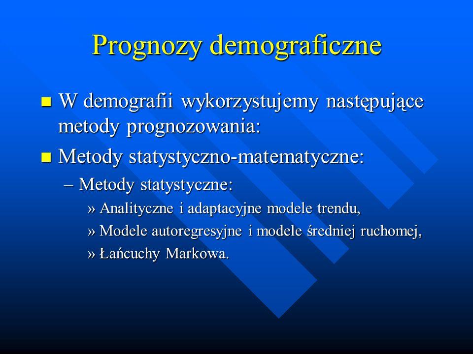 Prognozy demograficzne W demografii wykorzystujemy następujące metody prognozowania: W demografii wykorzystujemy następujące metody prognozowania: Metody statystyczno-matematyczne: Metody statystyczno-matematyczne: –Metody statystyczne: »Analityczne i adaptacyjne modele trendu, »Modele autoregresyjne i modele średniej ruchomej, »Łańcuchy Markowa.