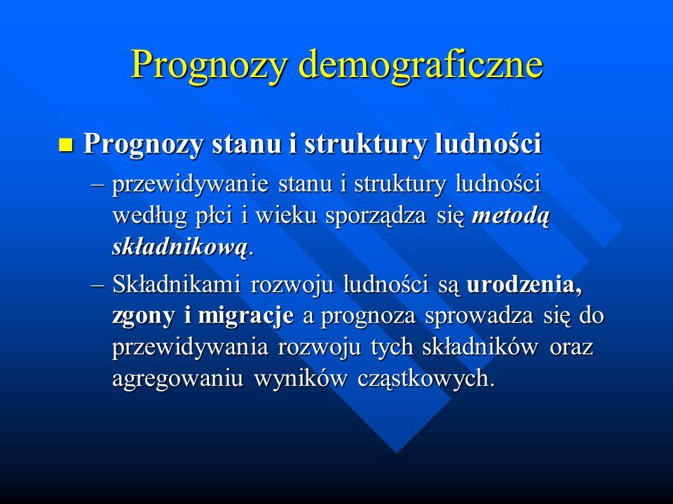Prognozy demograficzne Prognozy stanu i struktury ludności Prognozy stanu i struktury ludności –przewidywanie stanu i struktury ludności według płci i wieku sporządza się metodą składnikową.