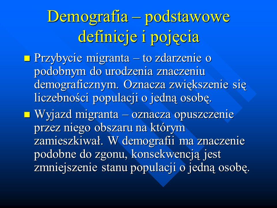 Demografia – podstawowe definicje i pojęcia Przybycie migranta – to zdarzenie o podobnym do urodzenia znaczeniu demograficznym.