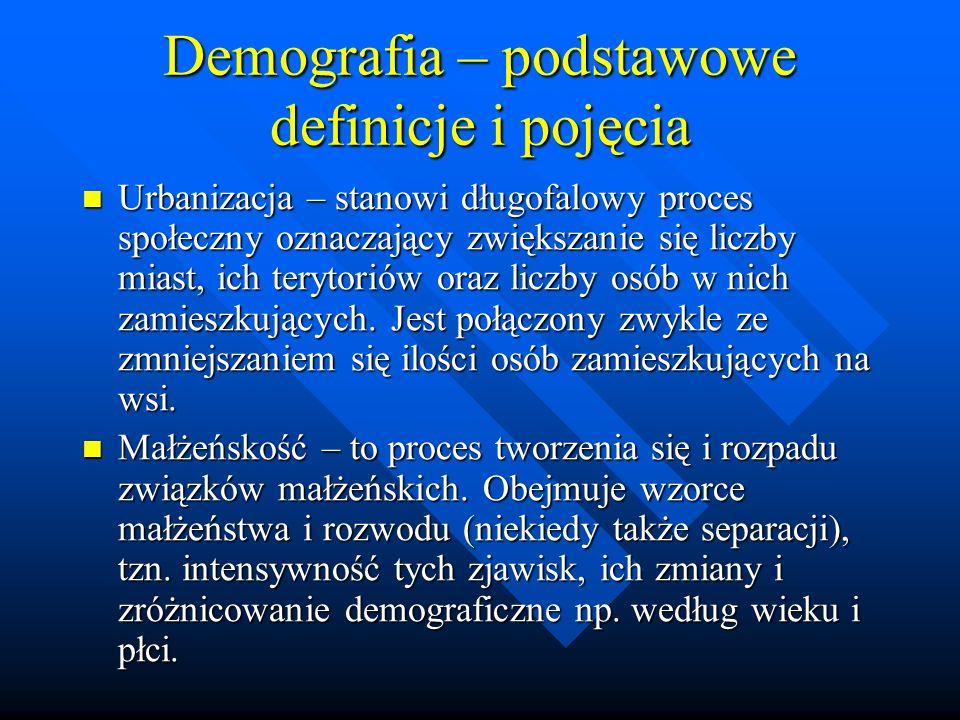 Demografia – podstawowe definicje i pojęcia Urbanizacja – stanowi długofalowy proces społeczny oznaczający zwiększanie się liczby miast, ich terytoriów oraz liczby osób w nich zamieszkujących.