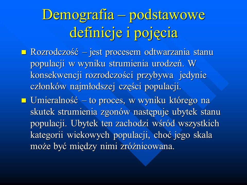 Demografia – podstawowe definicje i pojęcia Rozrodczość – jest procesem odtwarzania stanu populacji w wyniku strumienia urodzeń.