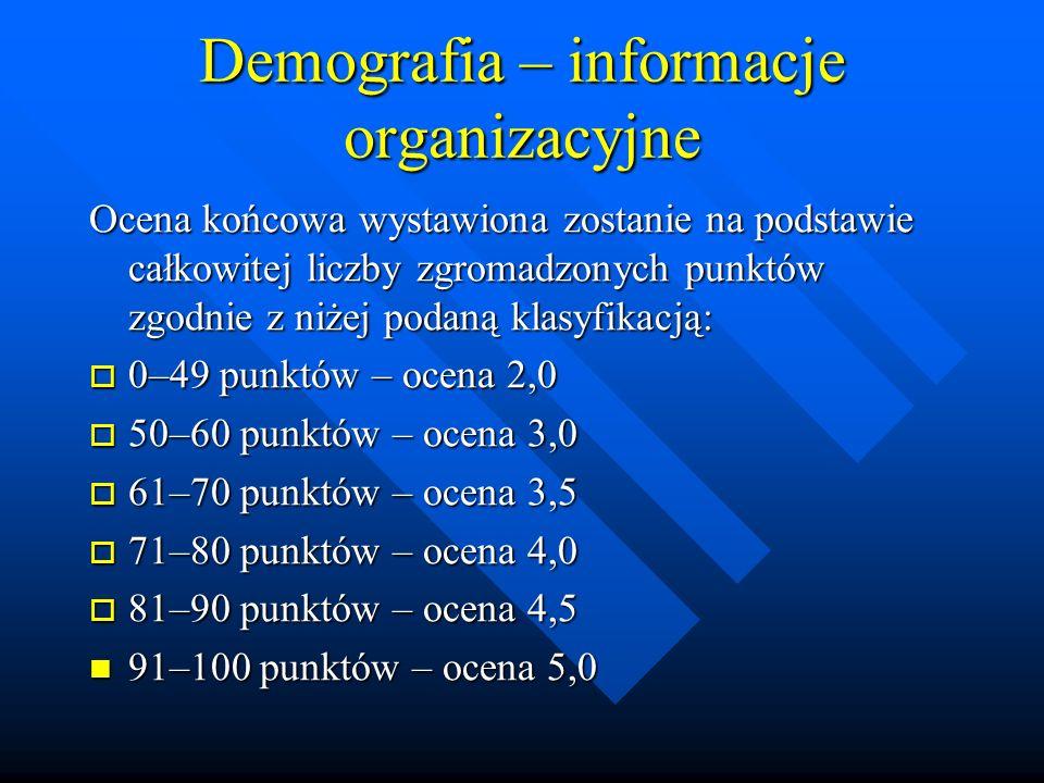 Demografia – informacje organizacyjne Ocena końcowa wystawiona zostanie na podstawie całkowitej liczby zgromadzonych punktów zgodnie z niżej podaną klasyfikacją: 0–49 punktów – ocena 2,0 0–49 punktów – ocena 2,0 50–60 punktów – ocena 3,0 50–60 punktów – ocena 3,0 61–70 punktów – ocena 3,5 61–70 punktów – ocena 3,5 71–80 punktów – ocena 4,0 71–80 punktów – ocena 4,0 81–90 punktów – ocena 4,5 81–90 punktów – ocena 4,5 91–100 punktów – ocena 5,0 91–100 punktów – ocena 5,0
