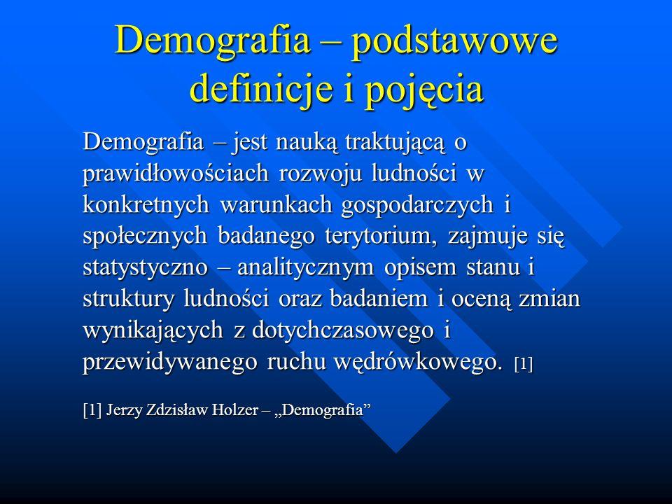 Demografia – podstawowe definicje i pojęcia Reprodukcja ludności – stanowi proces odtwarzania w czasie stanu liczebnego oraz struktury demograficznej populacji.
