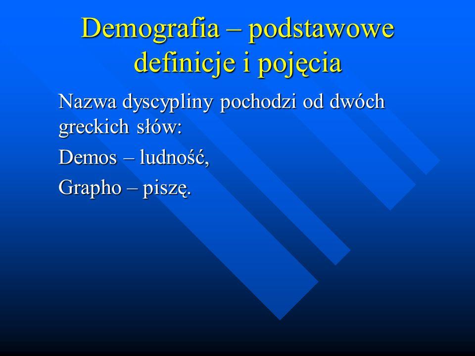 Demografia – podstawowe definicje i pojęcia Nazwa dyscypliny pochodzi od dwóch greckich słów: Demos – ludność, Grapho – piszę.