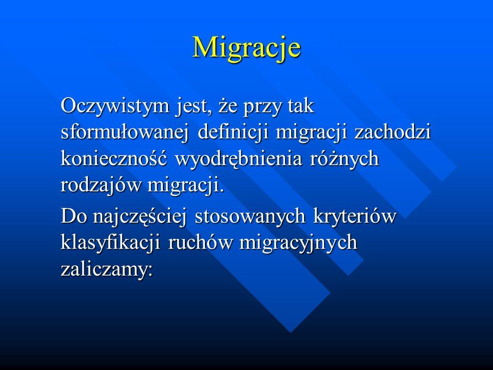 Migracje Oczywistym jest, że przy tak sformułowanej definicji migracji zachodzi konieczność wyodrębnienia różnych rodzajów migracji.