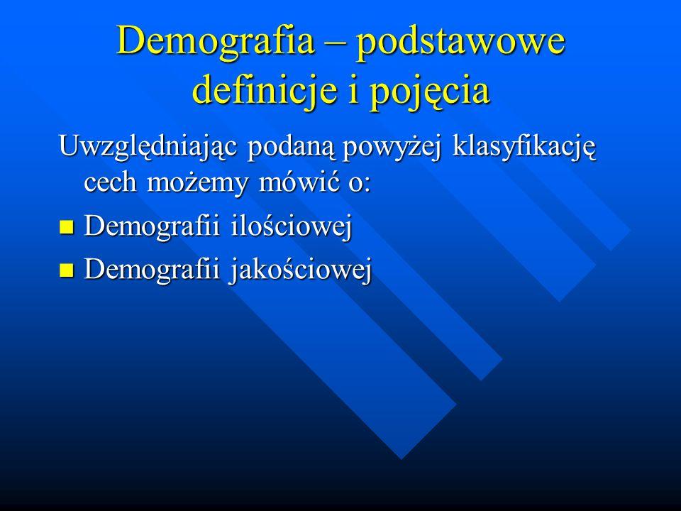 Demografia – podstawowe definicje i pojęcia Dodatkowo możemy wyodrębnić następujące działy demografii: Demografia matematyczna (demometria) – traktująca o problemie metod pomiaru zjawisk demograficznych w drodze aplikacji skomplikowanych metod matematycznych, ekonometrycznych i statystycznych.