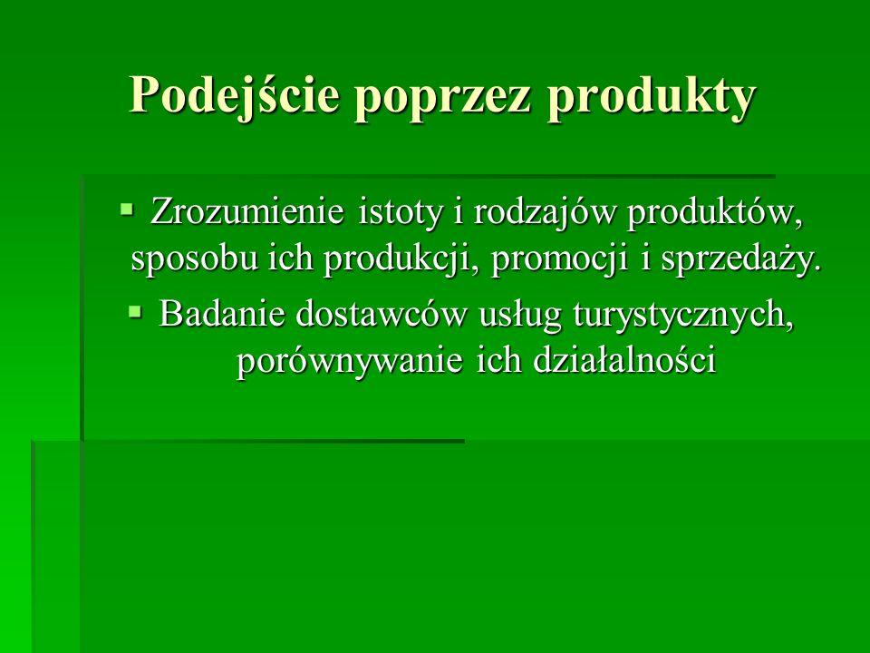 Podejście poprzez produkty Zrozumienie istoty i rodzajów produktów, sposobu ich produkcji, promocji i sprzedaży. Zrozumienie istoty i rodzajów produkt