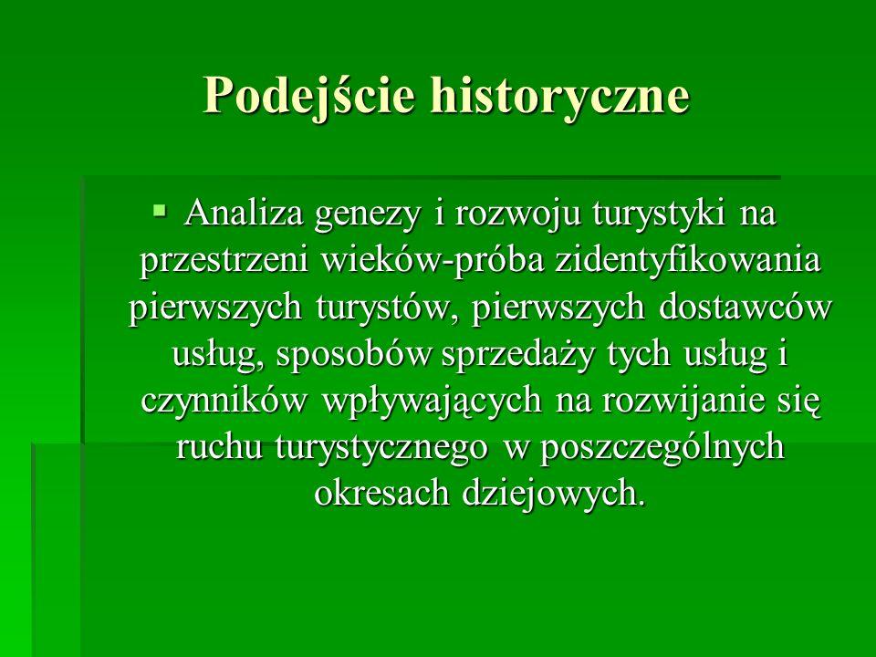 Podejście historyczne Analiza genezy i rozwoju turystyki na przestrzeni wieków-próba zidentyfikowania pierwszych turystów, pierwszych dostawców usług,