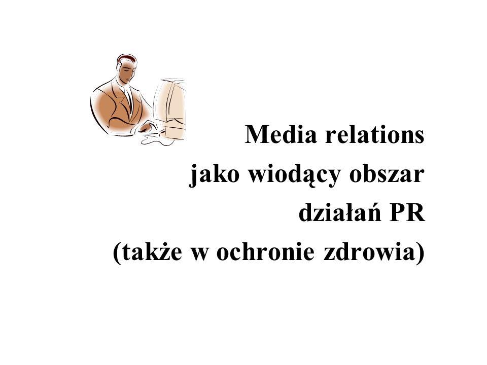 Relacje ze środkami masowego przekazu Punktem wyjścia: - adresat komunikatów (indywidualny, instytucjonalny), które mogą być rozpowszechniane przez media (konsekwencją jest wybór rodzaju mediów: ogólnopolskich, regionalnych, elektronicznych, drukowanych, specjalistycznych itd.) Jak często.