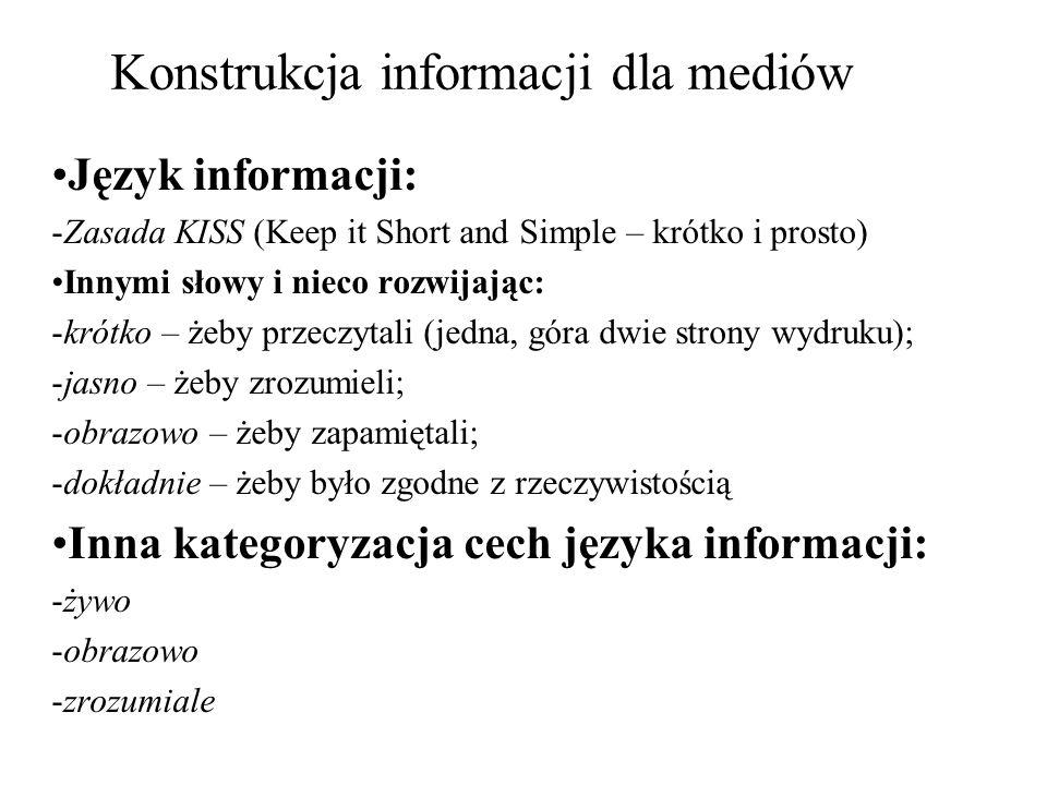 Konstrukcja informacji dla mediów Język informacji: -Zasada KISS (Keep it Short and Simple – krótko i prosto) Innymi słowy i nieco rozwijając: -krótko