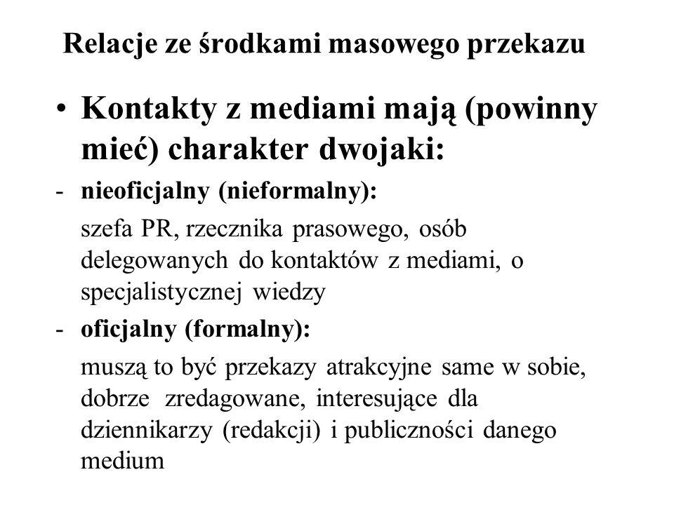 Relacje ze środkami masowego przekazu Kontakty z mediami mają (powinny mieć) charakter dwojaki: -nieoficjalny (nieformalny): szefa PR, rzecznika praso