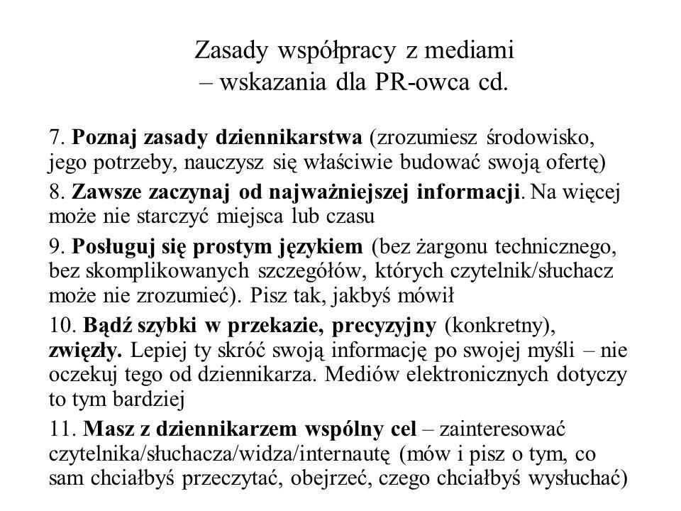 Konstrukcja informacji dla mediów 1.Konstrukcja typu odwrócona piramida (news release) 2.