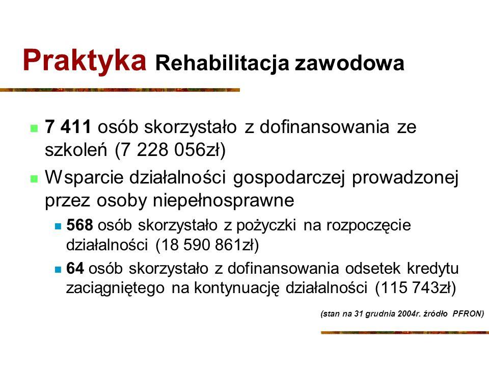 Praktyka Rehabilitacja zawodowa 7 411 osób skorzystało z dofinansowania ze szkoleń (7 228 056zł) Wsparcie działalności gospodarczej prowadzonej przez