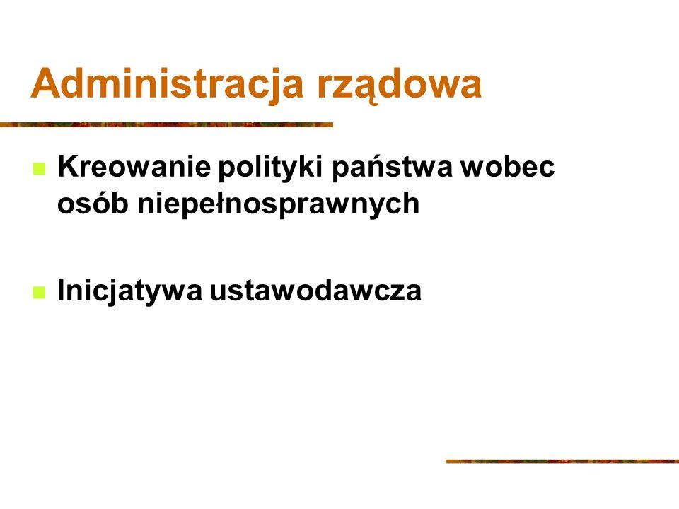 Administracja rządowa Kreowanie polityki państwa wobec osób niepełnosprawnych Inicjatywa ustawodawcza