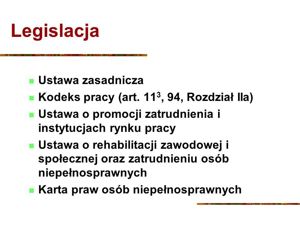 Legislacja Ustawa zasadnicza Kodeks pracy (art. 11 3, 94, Rozdział IIa) Ustawa o promocji zatrudnienia i instytucjach rynku pracy Ustawa o rehabilitac