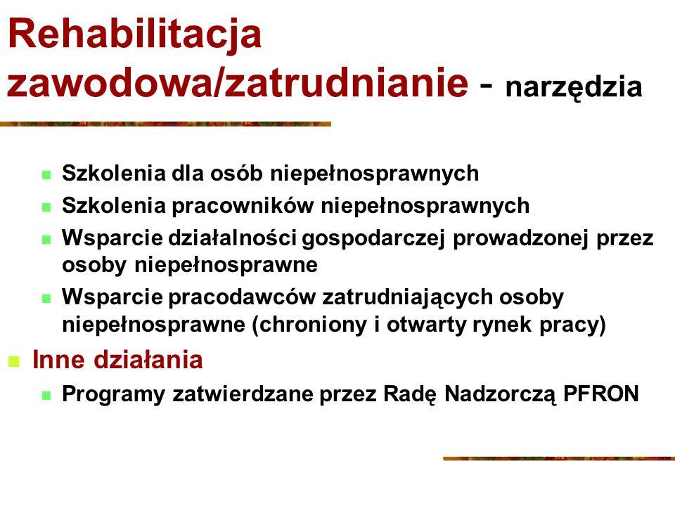 Rehabilitacja zawodowa/zatrudnianie - narzędzia Szkolenia dla osób niepełnosprawnych Szkolenia pracowników niepełnosprawnych Wsparcie działalności gos