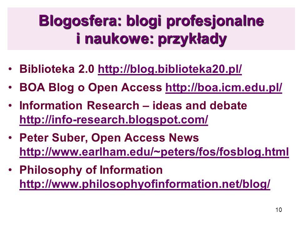10 Blogosfera: blogi profesjonalne i naukowe: przykłady Biblioteka 2.0 http://blog.biblioteka20.pl/http://blog.biblioteka20.pl/ BOA Blog o Open Access