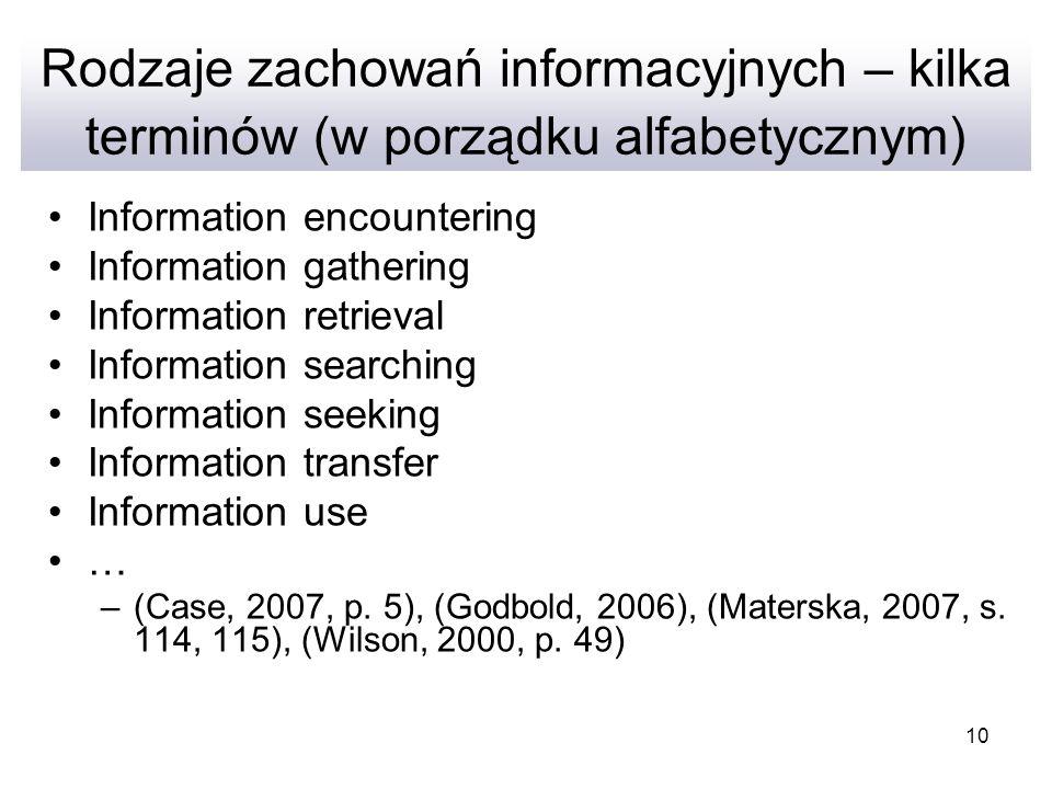 10 Rodzaje zachowań informacyjnych – kilka terminów (w porządku alfabetycznym) Information encountering Information gathering Information retrieval In