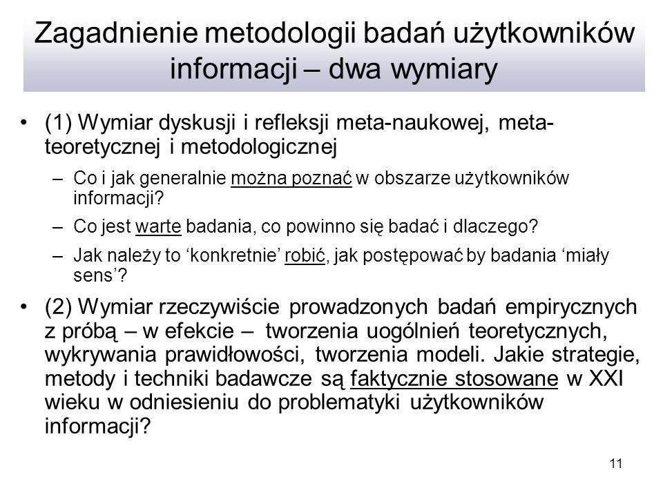 11 Zagadnienie metodologii badań użytkowników informacji – dwa wymiary (1) Wymiar dyskusji i refleksji meta-naukowej, meta- teoretycznej i metodologic
