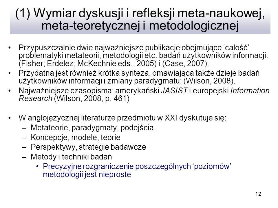 12 (1) Wymiar dyskusji i refleksji meta-naukowej, meta-teoretycznej i metodologicznej Przypuszczalnie dwie najważniejsze publikacje obejmujące całość