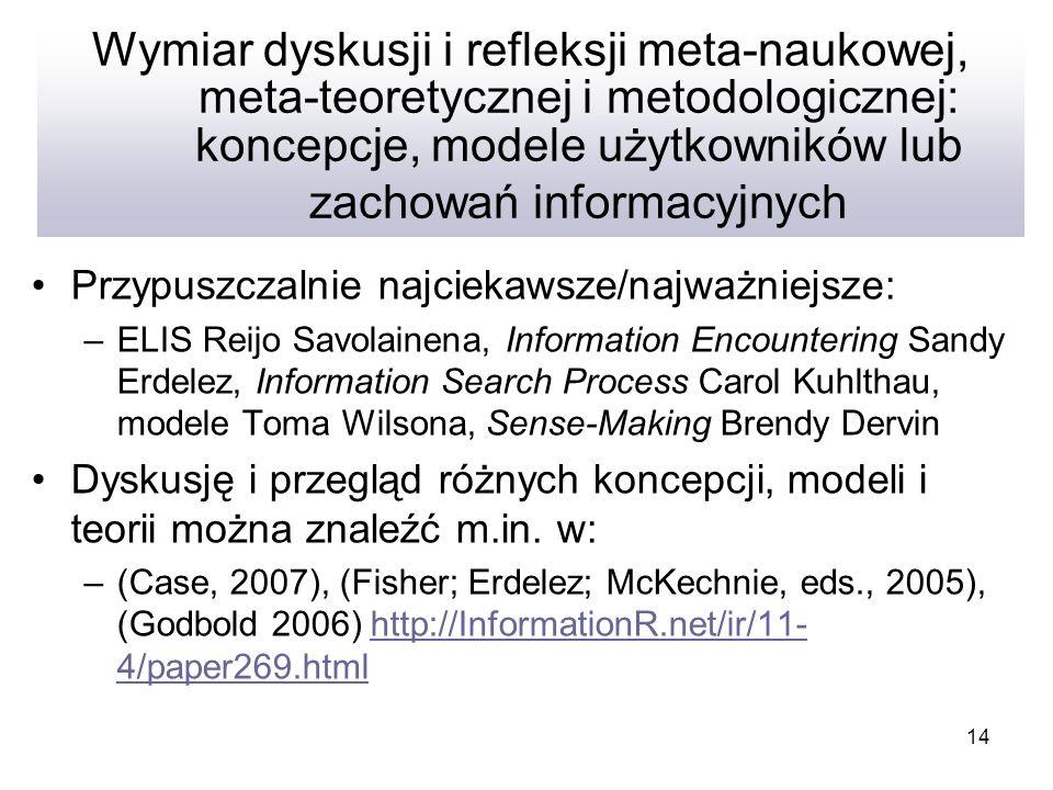 14 Wymiar dyskusji i refleksji meta-naukowej, meta-teoretycznej i metodologicznej: koncepcje, modele użytkowników lub zachowań informacyjnych Przypusz