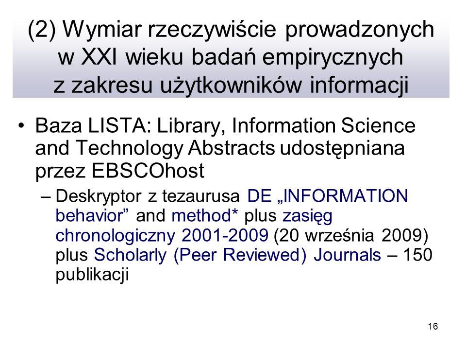 16 (2) Wymiar rzeczywiście prowadzonych w XXI wieku badań empirycznych z zakresu użytkowników informacji Baza LISTA: Library, Information Science and