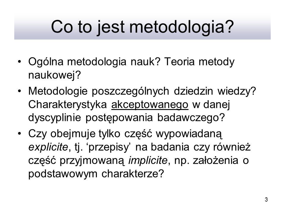 3 Co to jest metodologia? Ogólna metodologia nauk? Teoria metody naukowej? Metodologie poszczególnych dziedzin wiedzy? Charakterystyka akceptowanego w