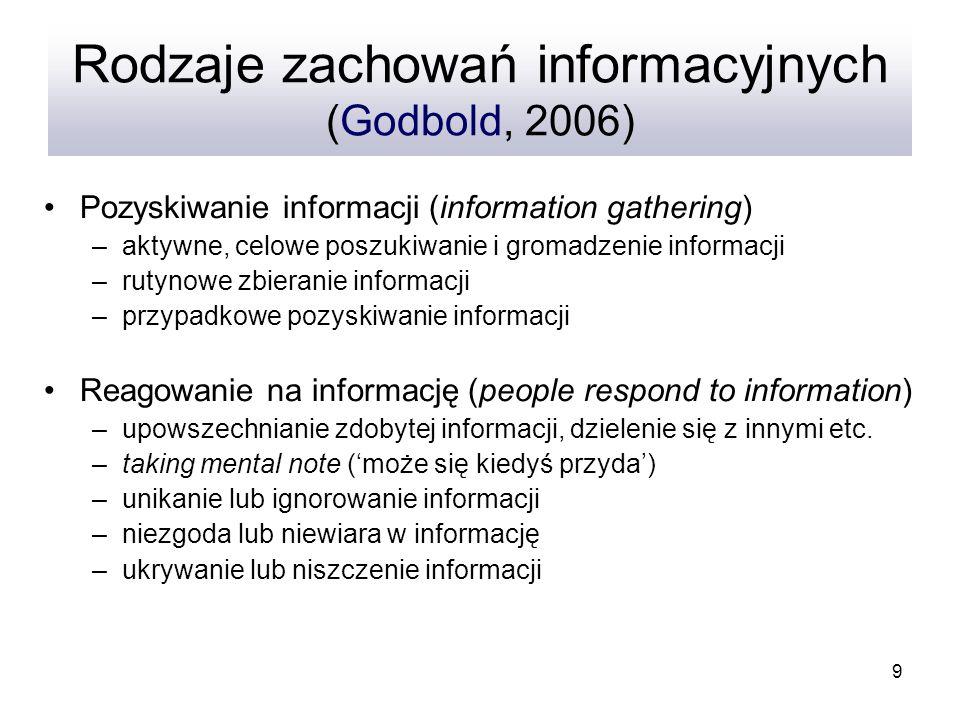 9 Rodzaje zachowań informacyjnych (Godbold, 2006) Pozyskiwanie informacji (information gathering) –aktywne, celowe poszukiwanie i gromadzenie informac