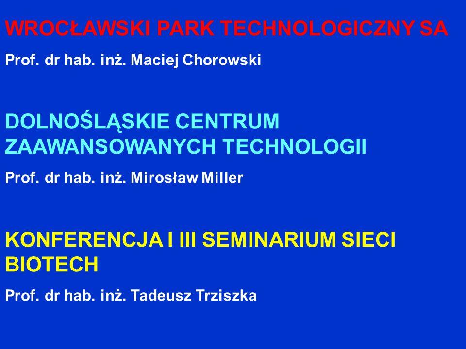 WROCŁAWSKI PARK TECHNOLOGICZNY SA Prof. dr hab. inż. Maciej Chorowski DOLNOŚLĄSKIE CENTRUM ZAAWANSOWANYCH TECHNOLOGII Prof. dr hab. inż. Mirosław Mill